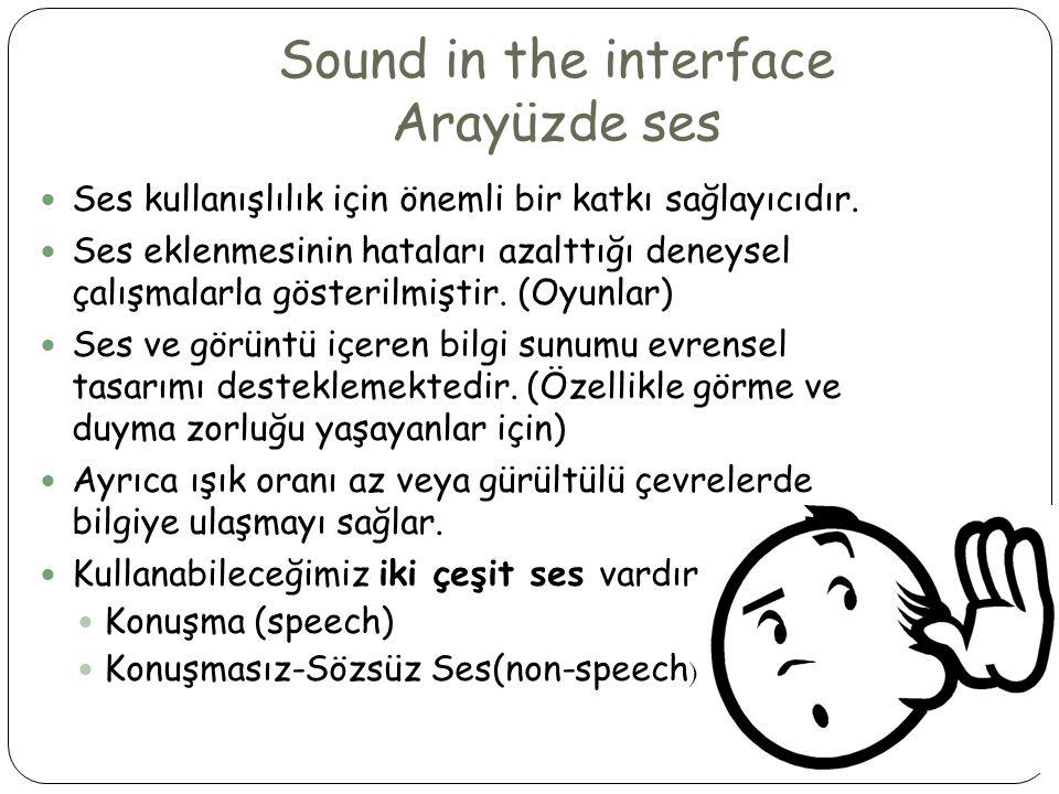 Sound in the interface Arayüzde ses  Ses kullanışlılık için önemli bir katkı sağlayıcıdır.