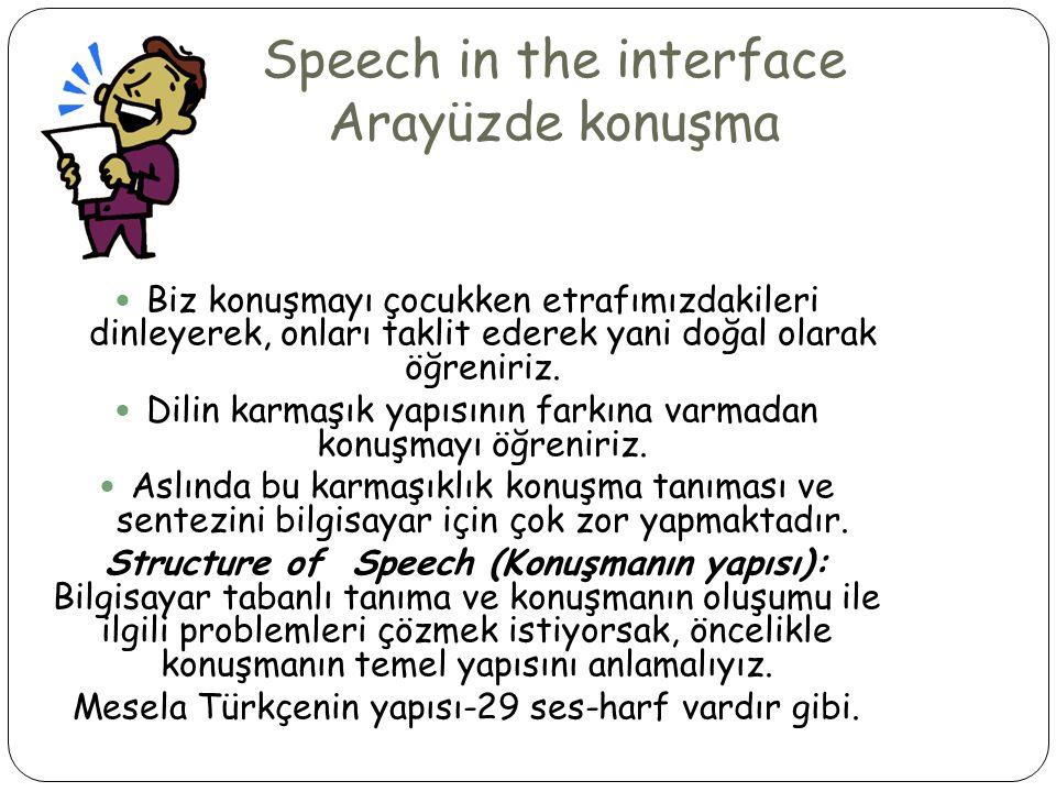 Speech in the interface Arayüzde konuşma  Biz konuşmayı çocukken etrafımızdakileri dinleyerek, onları taklit ederek yani doğal olarak öğreniriz.