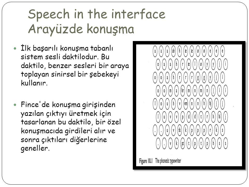 Speech in the interface Arayüzde konuşma  İlk başarılı konuşma tabanlı sistem sesli daktilodur.