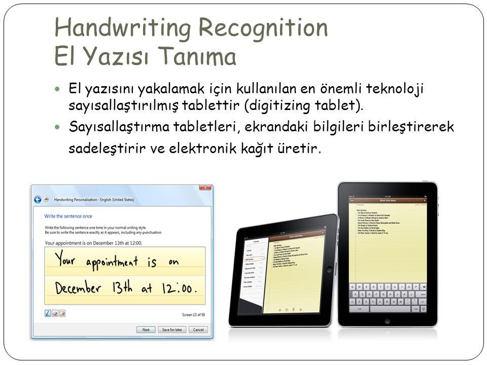 Handwriting Recognition El Yazısı Tanıma  El yazısını yakalamak için kullanılan en önemli teknoloji sayısallaştırılmış tablettir (digitizing tablet).