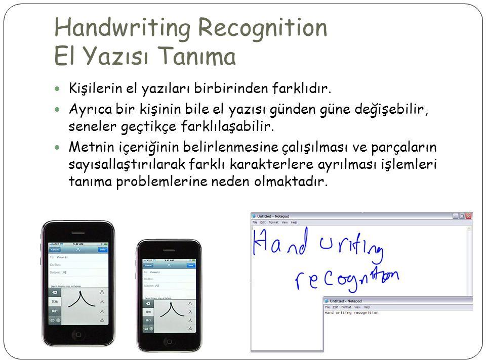 Handwriting Recognition El Yazısı Tanıma  Kişilerin el yazıları birbirinden farklıdır.