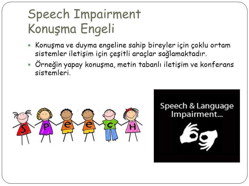 Speech Impairment Konuşma Engeli  Konuşma ve duyma engeline sahip bireyler için çoklu ortam sistemler iletişim için çeşitli araçlar sağlamaktadır.