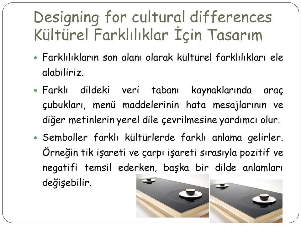 Designing for cultural differences Kültürel Farklılıklar İçin Tasarım  Farklılıkların son alanı olarak kültürel farklılıkları ele alabiliriz.  Farkl