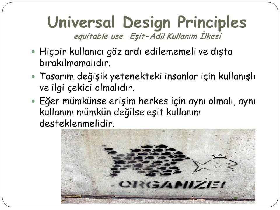 Universal Design Principles equitable use Eşit-Adil Kullanım İlkesi  Hiçbir kullanıcı göz ardı edilememeli ve dışta bırakılmamalıdır.  Tasarım değiş