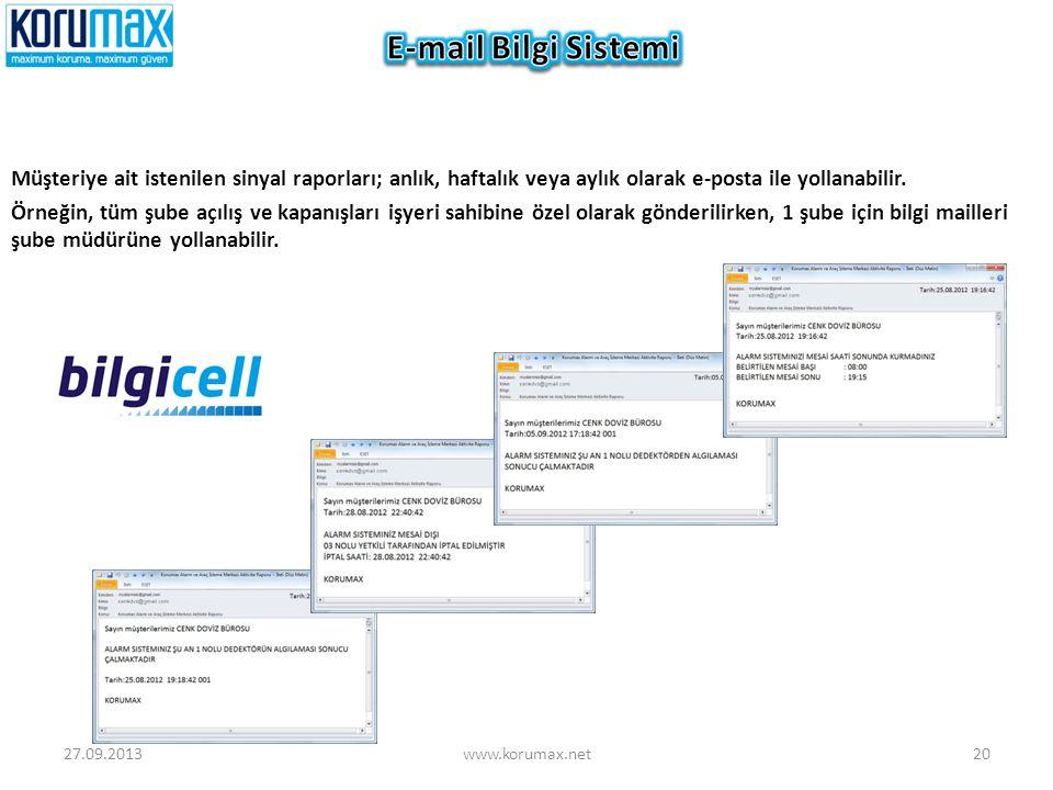 Müşteriye ait istenilen sinyal raporları; anlık, haftalık veya aylık olarak e-posta ile yollanabilir. Örneğin, tüm şube açılış ve kapanışları işyeri s