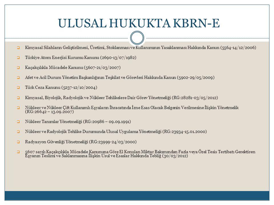 Kimyasal Silahların Geliştirilmesi, Üretimi, Stoklanması ve Kullanımının Yasaklanması Hakkında Kanun (5564-14/12/2006)  Türkiye Atom Enerjisi Kurumu Kanunu (2690-13/07/1982)  Kaçakçılıkla Mücadele Kanunu (5607-21/03/2007)  Afet ve Acil Durum Yönetim Başkanlığının Teşkilat ve Görevleri Hakkında Kanun (5902-29/05/2009)  Türk Ceza Kanunu (5237-12/10/2004)  Kimyasal, Biyolojik, Radyolojik ve Nükleer Tehlikelere Dair Görev Yönetmeliği (RG:28281-03/05/2012)  Nükleer ve Nükleer Çift Kullanımlı Eşyaların İhracatında İzne Esas Olacak Belgenin Verilmesine İlişkin Yönetmelik (RG:26642 – 13.09.2007)  Nükleer Tanımlar Yönetmeliği (RG:20986 – 09.09.1991)  Nükleer ve Radyolojik Tehlike Durumunda Ulusal Uygulama Yönetmeliği (RG:23934-15.01.2000)  Radyasyon Güvenliği Yönetmeliği (RG:23999-24/03/2000)  5607 sayılı Kaçakçılıkla Mücadele Kanununa Göre El Konulan Miktar Bakımından Fazla veya Özel Tesis Tertibatı Gerektiren Eşyanın Teslimi ve Saklanmasına İlişkin Usul ve Esaslar Hakkında Tebliğ (30/03/2012) ULUSAL HUKUKTA KBRN-E