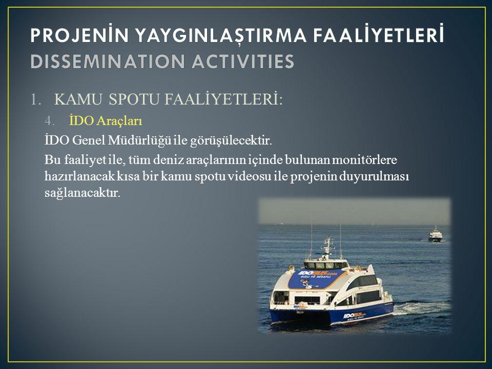 1.KAMU SPOTU FAALİYETLERİ: 4.İDO Araçları İDO Genel Müdürlüğü ile görüşülecektir. Bu faaliyet ile, tüm deniz araçlarının içinde bulunan monitörlere ha