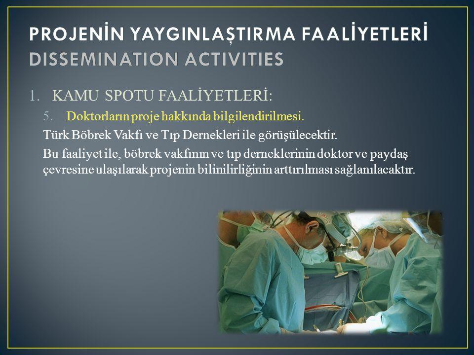 1.KAMU SPOTU FAALİYETLERİ: 5.Doktorların proje hakkında bilgilendirilmesi. Türk Böbrek Vakfı ve Tıp Dernekleri ile görüşülecektir. Bu faaliyet ile, bö