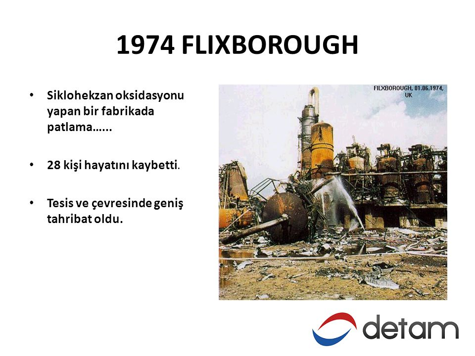 1974 FLIXBOROUGH • Siklohekzan oksidasyonu yapan bir fabrikada patlama…...