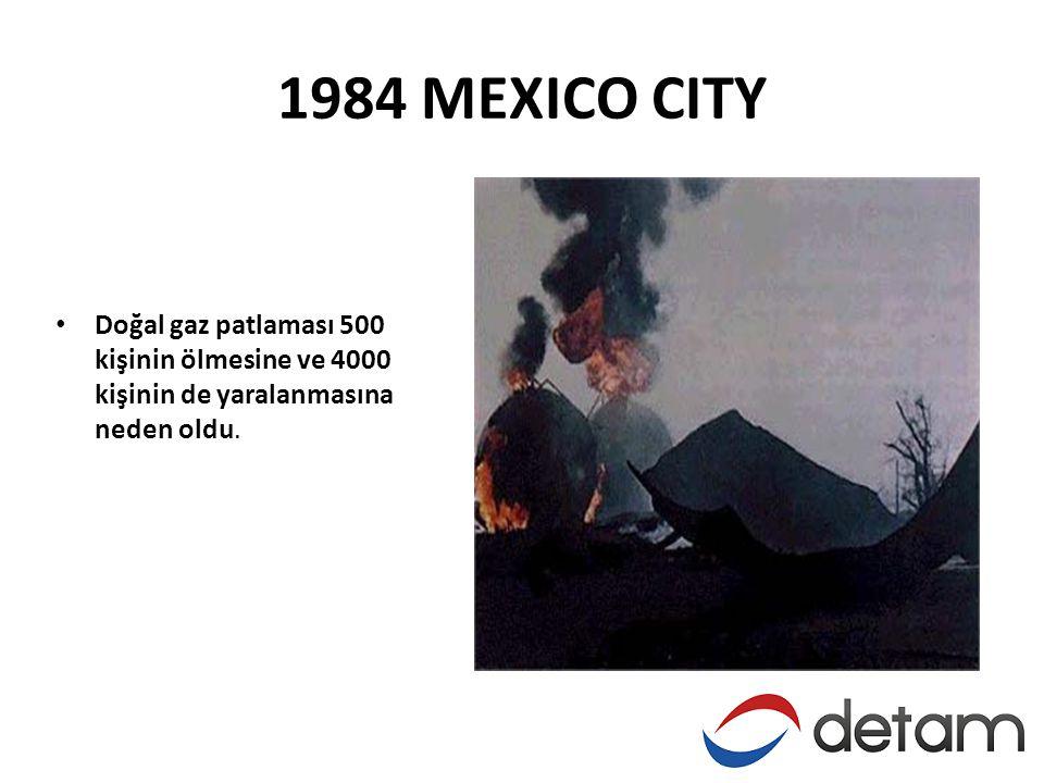 1984 MEXICO CITY • Doğal gaz patlaması 500 kişinin ölmesine ve 4000 kişinin de yaralanmasına neden oldu.