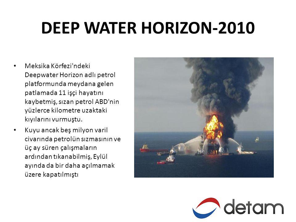 DEEP WATER HORIZON-2010 • Meksika Körfezi ndeki Deepwater Horizon adlı petrol platformunda meydana gelen patlamada 11 işçi hayatını kaybetmiş, sızan petrol ABD nin yüzlerce kilometre uzaktaki kıyılarını vurmuştu.