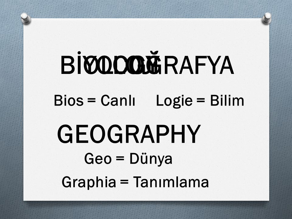 BİYOCOĞRAFYA LOJİ GEOGRAPHY BIOLOGY Bios = CanlıLogie = Bilim Geo = Dünya Graphia = Tanımlama