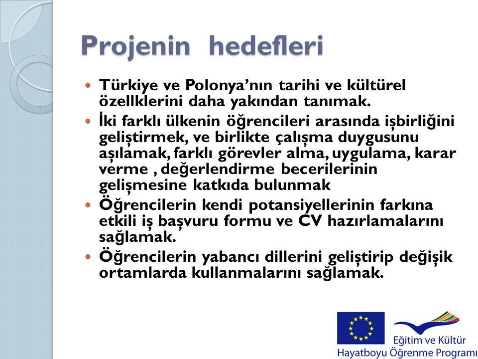 Projenin hedefleri  Türkiye ve Polonya'nın tarihi ve kültürel özellklerini daha yakından tanımak.  İ ki farklı ülkenin ö ğ rencileri arasında işbirl