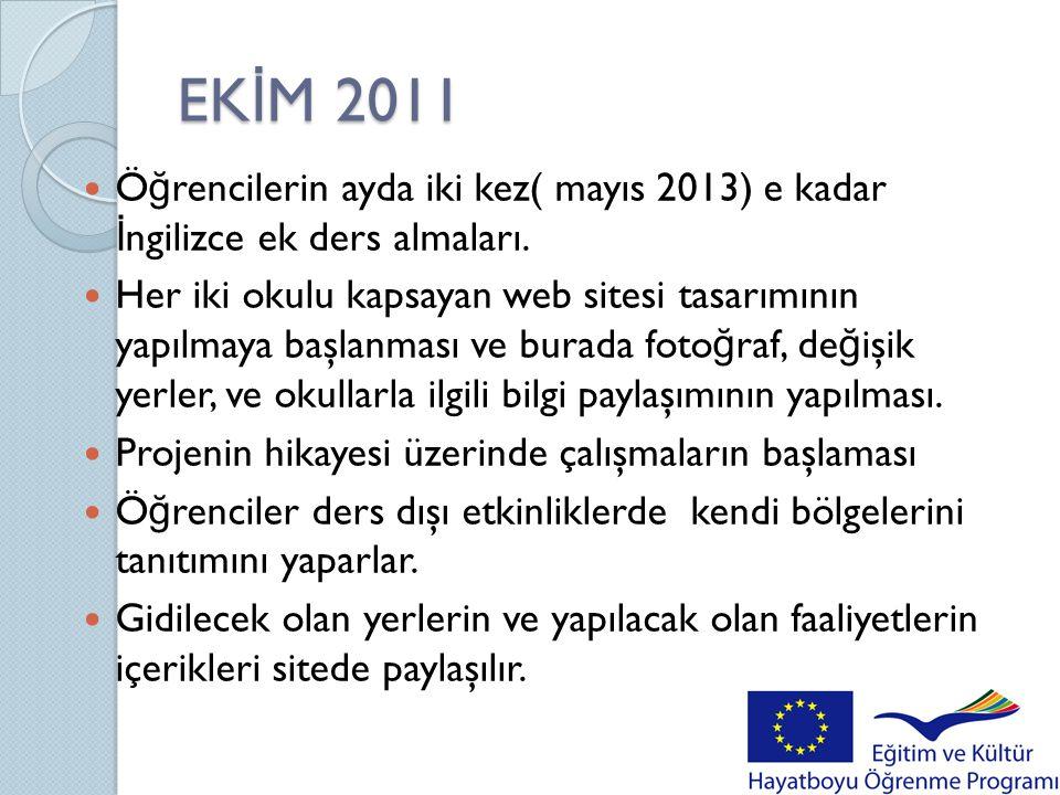 EK İ M 2011  Ö ğ rencilerin ayda iki kez( mayıs 2013) e kadar İ ngilizce ek ders almaları.  Her iki okulu kapsayan web sitesi tasarımının yapılmaya