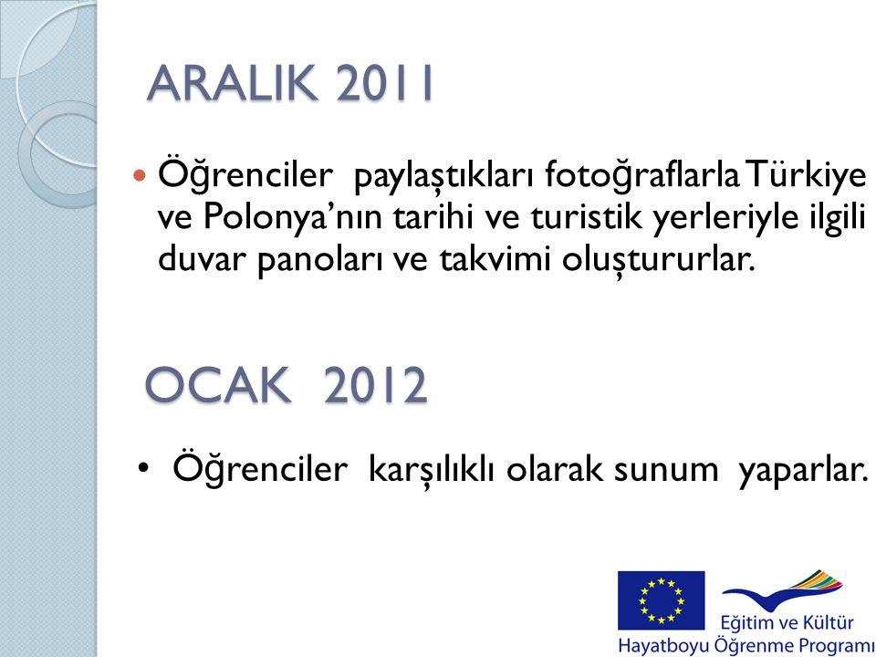 ARALIK 2011  Ö ğ renciler paylaştıkları foto ğ raflarla Türkiye ve Polonya'nın tarihi ve turistik yerleriyle ilgili duvar panoları ve takvimi oluştur