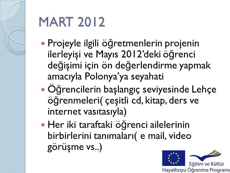 MART 2012  Projeyle ilgili ö ğ retmenlerin projenin ilerleyişi ve Mayıs 2012'deki ö ğ renci de ğ işimi için ön de ğ erlendirme yapmak amacıyla Polony