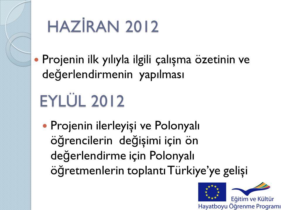 HAZ İ RAN 2012  Projenin ilk yılıyla ilgili çalışma özetinin ve de ğ erlendirmenin yapılması EYLÜL 2012  Projenin ilerleyişi ve Polonyalı ö ğ rencil