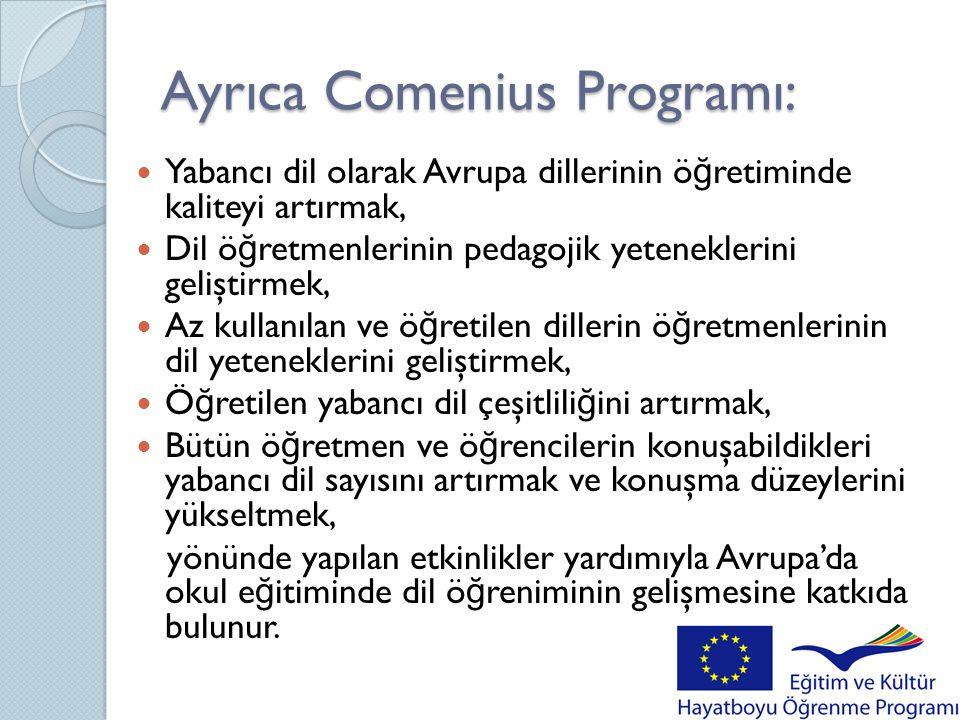 Bunların yanı sıra Comenius Programı:  De ğ işik kültürlere yönelik farkındalı ğ ın geliştirilmesini teşvik etmek,  Okul e ğ itimi sektöründe kültürler arası e ğ itim girişimlerini geliştirmek,  Kültürler arası e ğ itim alanında ö ğ retmenlerin yeteneklerini geliştirmek,  Irkçılık ve yabancı korkusu/düşmanlı ğ ıyla mücadeleyi desteklemek; için tasarlanmış uluslararası etkinlikler yardımıyla Avrupa'daki okul e ğ itiminde kültürler arası farklılıkların bilincine varılmasını teşvik eder.