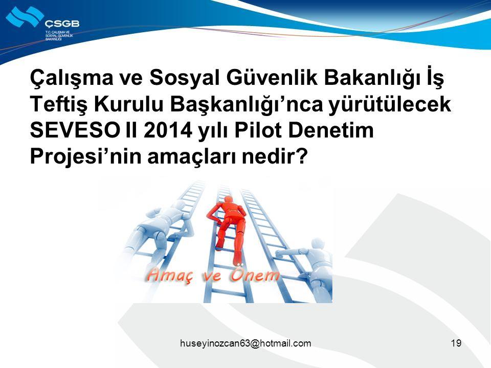 Çalışma ve Sosyal Güvenlik Bakanlığı İş Teftiş Kurulu Başkanlığı'nca yürütülecek SEVESO II 2014 yılı Pilot Denetim Projesi'nin amaçları nedir? huseyin