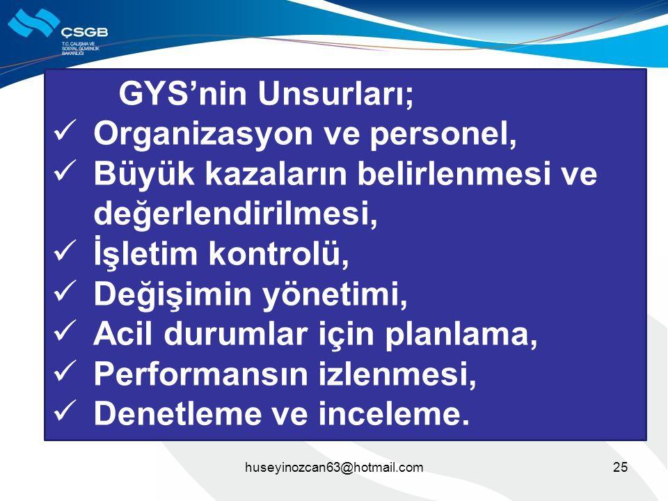 25huseyinozcan63@hotmail.com GYS'nin Unsurları;  Organizasyon ve personel,  Büyük kazaların belirlenmesi ve değerlendirilmesi,  İşletim kontrolü, 