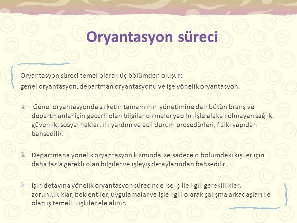 Oryantasyon süreci Oryantasyon süreci temel olarak üç bölümden oluşur; genel oryantasyon, departman oryantasyonu ve işe yönelik oryantasyon.