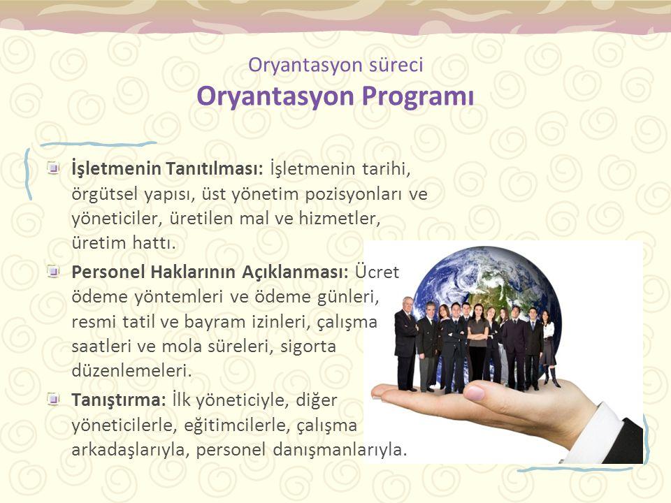 Oryantasyon süreci Oryantasyon Programı İşletmenin Tanıtılması: İşletmenin tarihi, örgütsel yapısı, üst yönetim pozisyonları ve yöneticiler, üretilen mal ve hizmetler, üretim hattı.