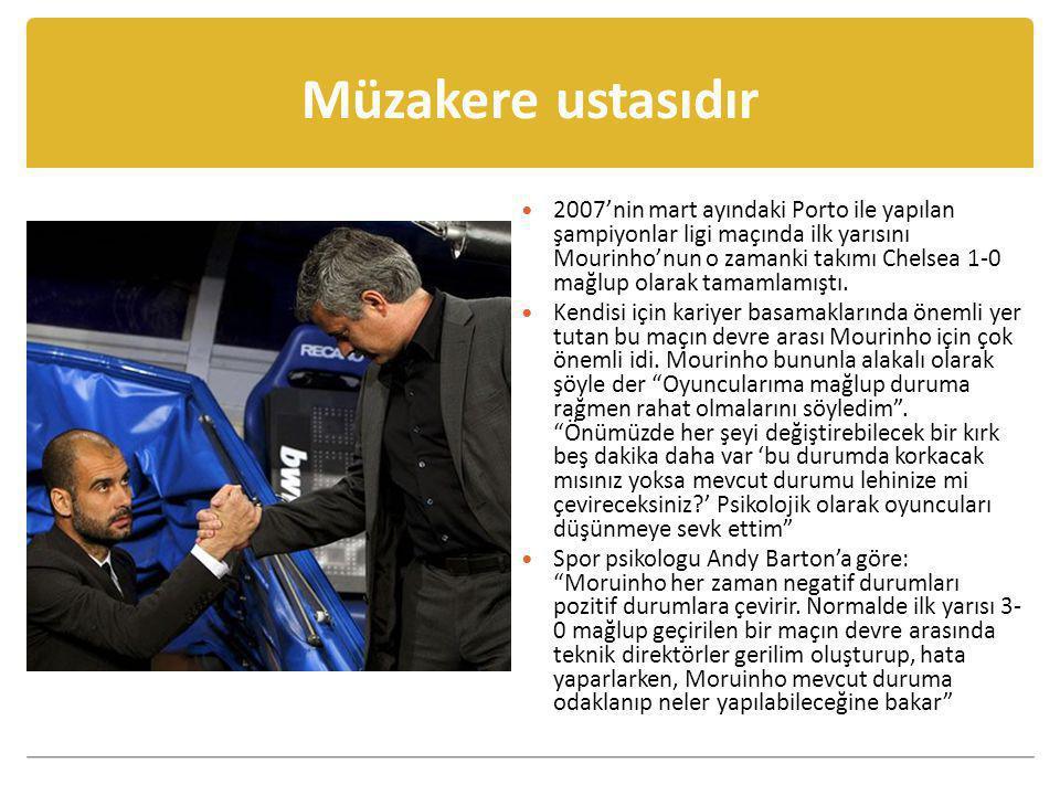 Müzakere ustasıdır  2007'nin mart ayındaki Porto ile yapılan şampiyonlar ligi maçında ilk yarısını Mourinho'nun o zamanki takımı Chelsea 1-0 mağlup o