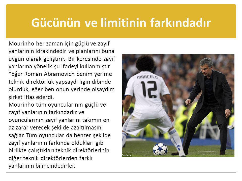Gücünün ve limitinin farkındadır Mourinho her zaman için güçlü ve zayıf yanlarının idrakindedir ve planlarını buna uygun olarak geliştirir. Bir keresi