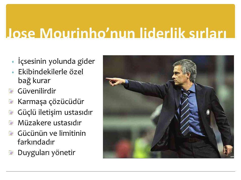 Jose Mourinho'nun liderlik sırları • İçsesinin yolunda gider • Ekibindekilerle özel bağ kurar Güvenilirdir Karmaşa çözücüdür Güçlü iletişim ustasıdır