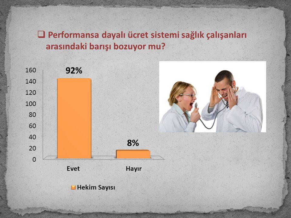  Performansa dayalı ücret sistemi sağlık çalışanları arasındaki barışı bozuyor mu?