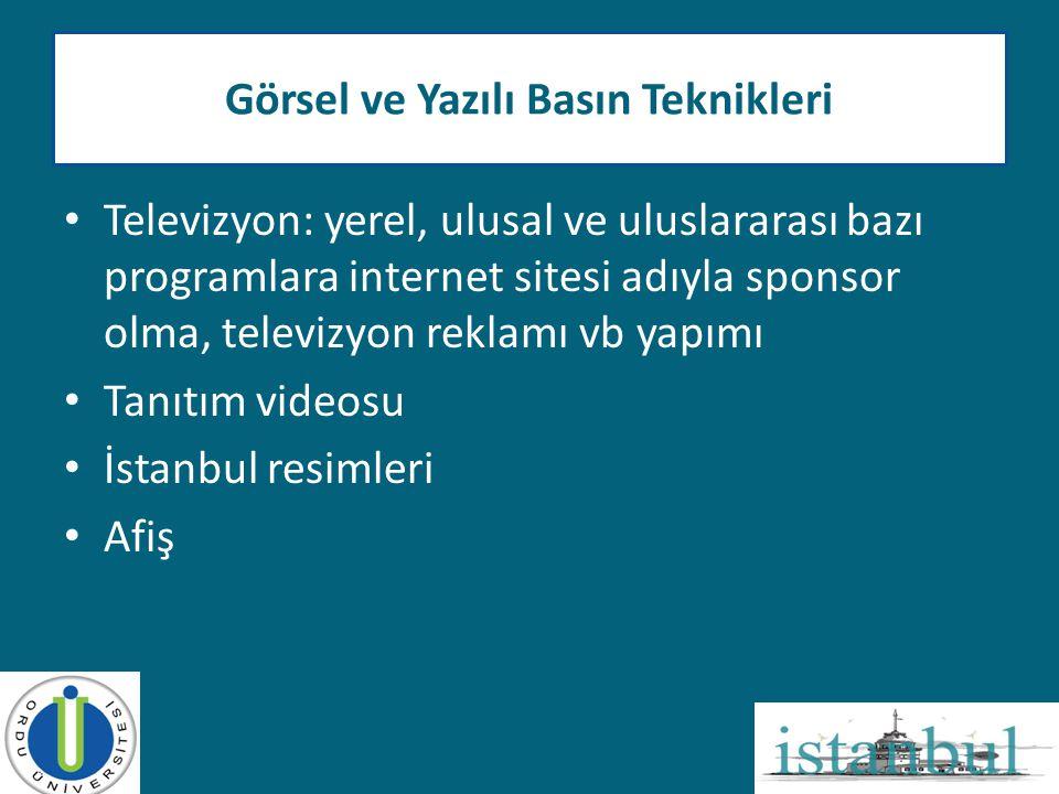 • Televizyon: yerel, ulusal ve uluslararası bazı programlara internet sitesi adıyla sponsor olma, televizyon reklamı vb yapımı • Tanıtım videosu • İst
