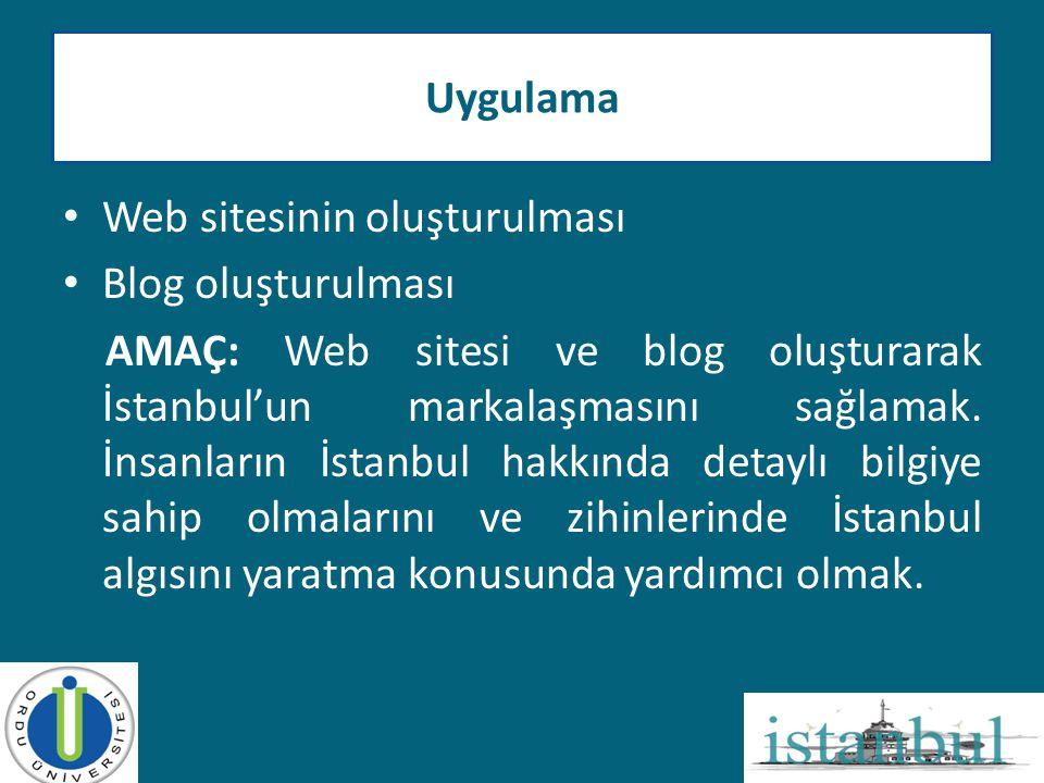 • Web sitesinin oluşturulması • Blog oluşturulması AMAÇ: Web sitesi ve blog oluşturarak İstanbul'un markalaşmasını sağlamak. İnsanların İstanbul hakkı