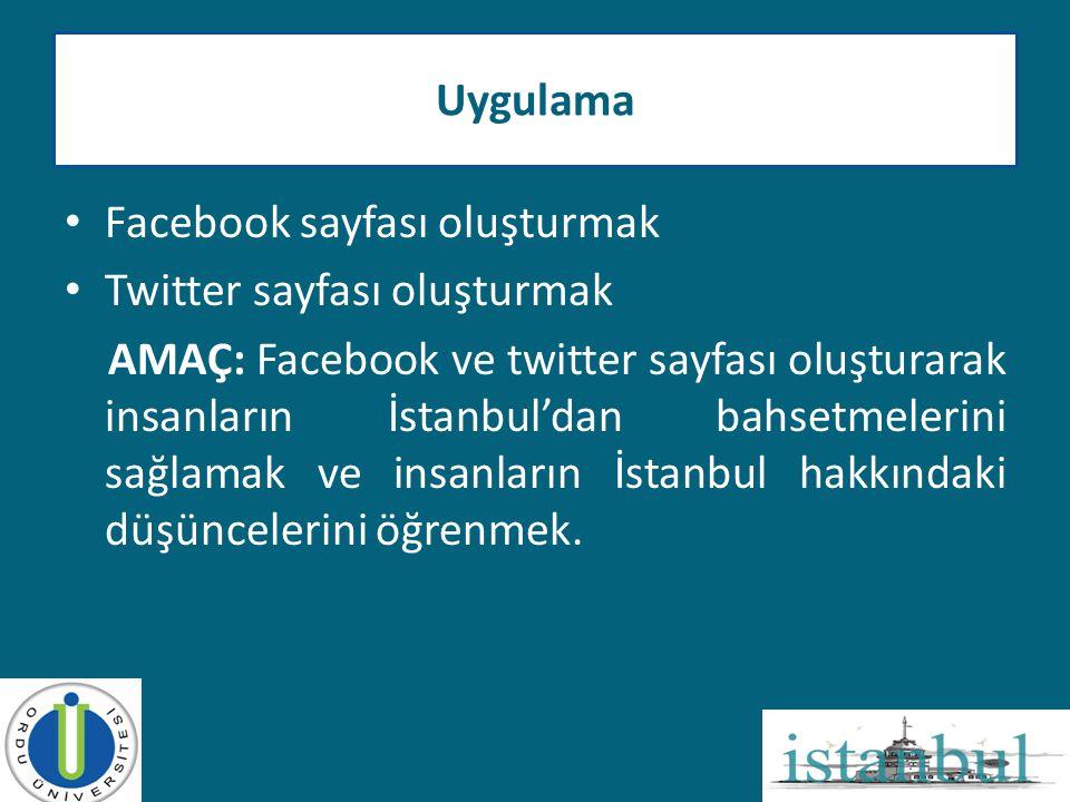 • Facebook sayfası oluşturmak • Twitter sayfası oluşturmak AMAÇ: Facebook ve twitter sayfası oluşturarak insanların İstanbul'dan bahsetmelerini sağlam