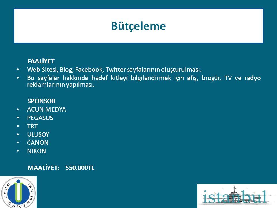 FAALİYET • Web Sitesi, Blog, Facebook, Twitter sayfalarının oluşturulması. • Bu sayfalar hakkında hedef kitleyi bilgilendirmek için afiş, broşür, TV v