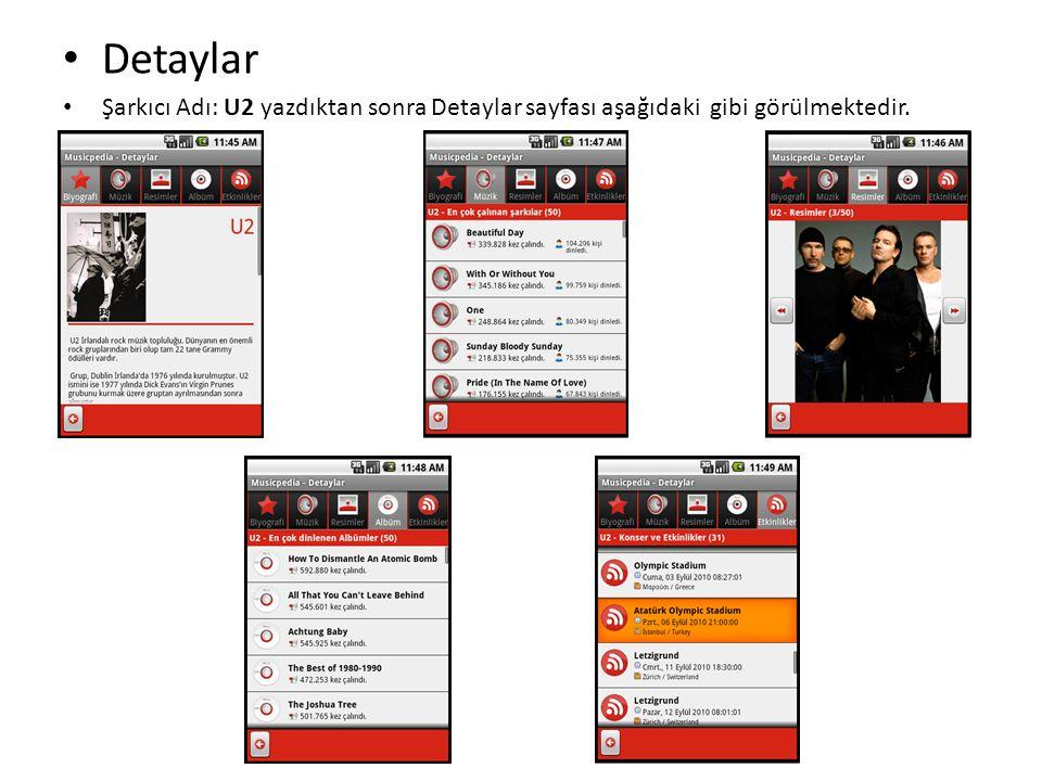 • Detaylar • Şarkıcı Adı: U2 yazdıktan sonra Detaylar sayfası aşağıdaki gibi görülmektedir.