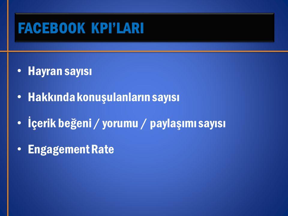 FACEBOOK KPI'LARI • Hayran sayısı • Hakkında konuşulanların sayısı • İçerik beğeni / yorumu / paylaşımı sayısı • Engagement Rate