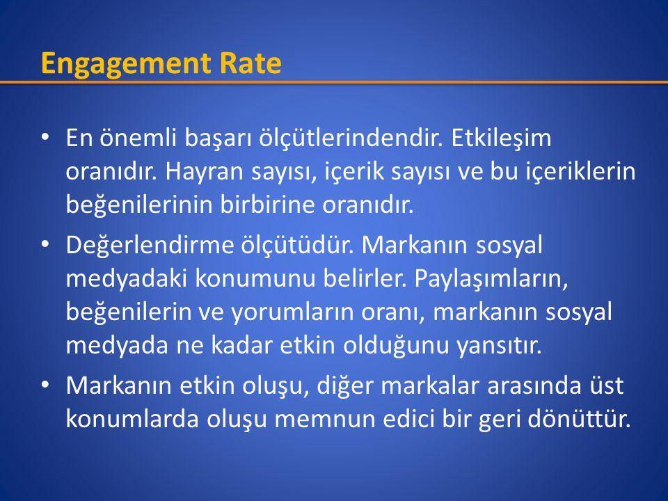 Engagement Rate • En önemli başarı ölçütlerindendir. Etkileşim oranıdır. Hayran sayısı, içerik sayısı ve bu içeriklerin beğenilerinin birbirine oranıd