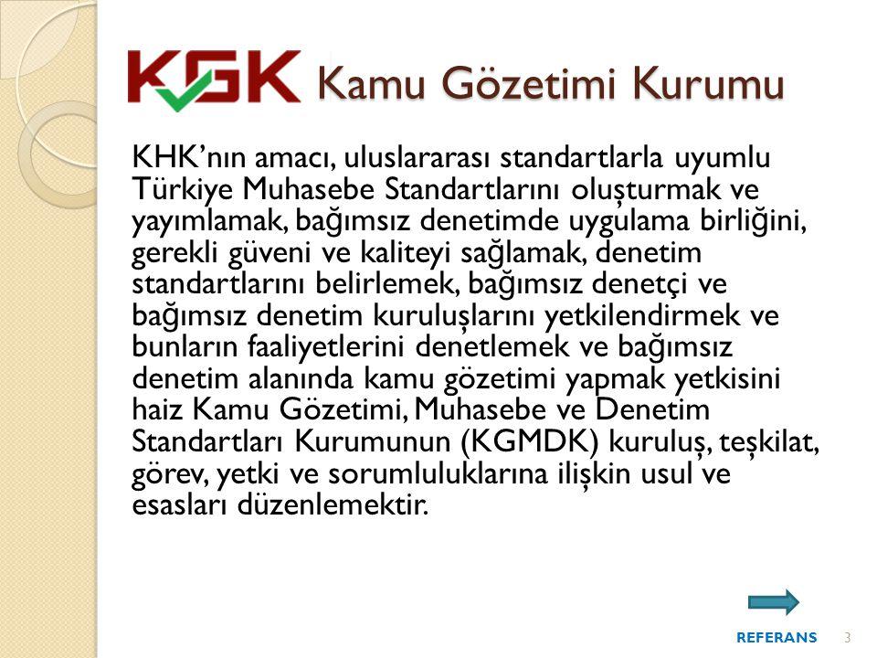 Kamu Gözetimi Kurumu KHK'nın amacı, uluslararası standartlarla uyumlu Türkiye Muhasebe Standartlarını oluşturmak ve yayımlamak, ba ğ ımsız denetimde uygulama birli ğ ini, gerekli güveni ve kaliteyi sa ğ lamak, denetim standartlarını belirlemek, ba ğ ımsız denetçi ve ba ğ ımsız denetim kuruluşlarını yetkilendirmek ve bunların faaliyetlerini denetlemek ve ba ğ ımsız denetim alanında kamu gözetimi yapmak yetkisini haiz Kamu Gözetimi, Muhasebe ve Denetim Standartları Kurumunun (KGMDK) kuruluş, teşkilat, görev, yetki ve sorumluluklarına ilişkin usul ve esasları düzenlemektir.