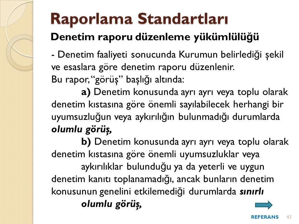 Raporlama Standartları Denetim raporu düzenleme yükümlülü ğ ü - Denetim faaliyeti sonucunda Kurumun belirledi ğ i şekil ve esaslara göre denetim raporu düzenlenir.