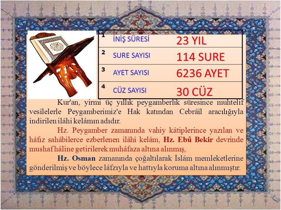 Kur'an, yirmi üç yıllık peygamberlik süresince muhtelif vesîlelerle Peygamberimiz'e Hak katından Cebrâîl aracılığıyla indirilen ilâhi kelâmın adıdır.
