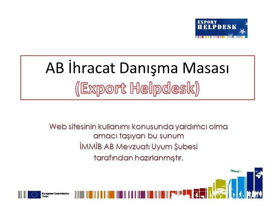 Web sitesinin kullanımı konusunda yardımcı olma amacı taşıyan bu sunum İMMİB AB Mevzuatı Uyum Şubesi tarafından hazırlanmıştır.