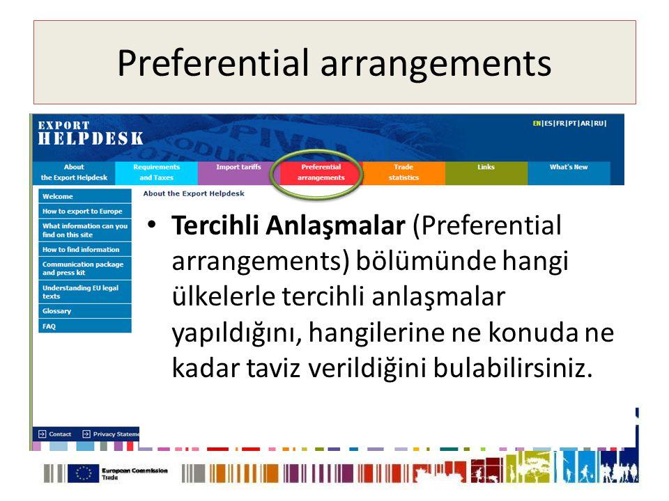 Preferential arrangements • Tercihli Anlaşmalar (Preferential arrangements) bölümünde hangi ülkelerle tercihli anlaşmalar yapıldığını, hangilerine ne konuda ne kadar taviz verildiğini bulabilirsiniz.