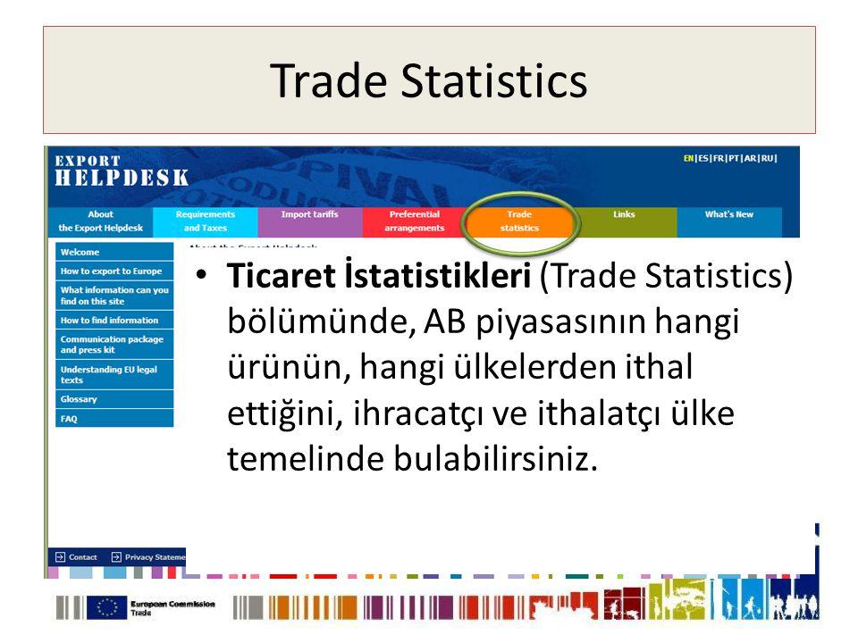 Trade Statistics • Ticaret İstatistikleri (Trade Statistics) bölümünde, AB piyasasının hangi ürünün, hangi ülkelerden ithal ettiğini, ihracatçı ve ithalatçı ülke temelinde bulabilirsiniz.