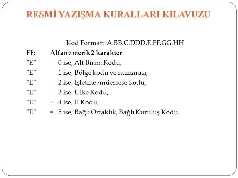 Kod Formatı: A.BB.C.DDD.E.FF.GG.HH FF: Alfanümerik 2 karakter ″E″= 0 ise, Alt Birim Kodu, ″E″= 1 ise, Bölge kodu ve numarası, ″E″= 2 ise, İşletme /müe