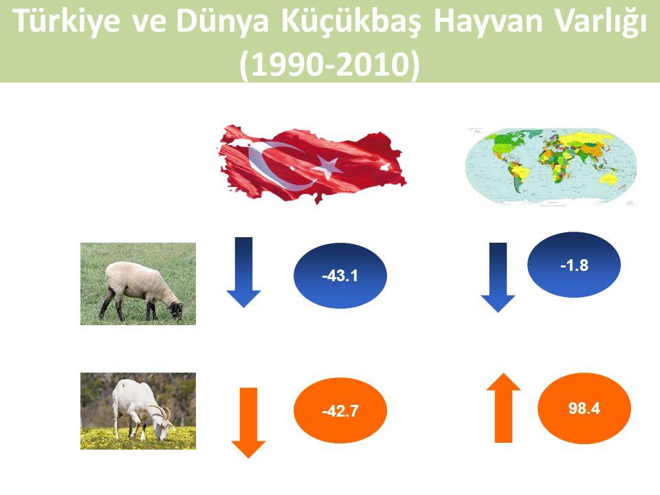 Türkiye ve Dünya Küçükbaş Hayvan Varlığı (1990-2010) -43.1 -42.7 -1.8 98.4