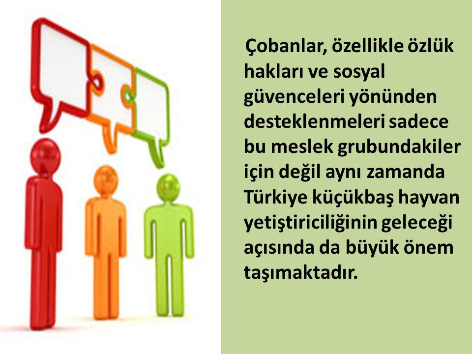 Çobanlar, özellikle özlük hakları ve sosyal güvenceleri yönünden desteklenmeleri sadece bu meslek grubundakiler için değil aynı zamanda Türkiye küçükb