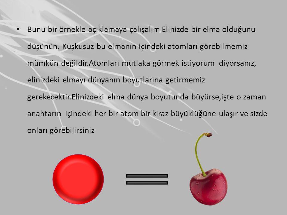 • Bunu bir örnekle açıklamaya çalışalım Elinizde bir elma olduğunu düşünün. Kuşkusuz bu elmanın içindeki atomları görebilmemiz mümkün değildir.Atomlar