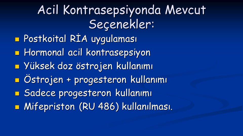Acil Kontrasepsiyonda Mevcut Seçenekler:  Postkoital RİA uygulaması  Hormonal acil kontrasepsiyon  Yüksek doz östrojen kullanımı  Östrojen + proge
