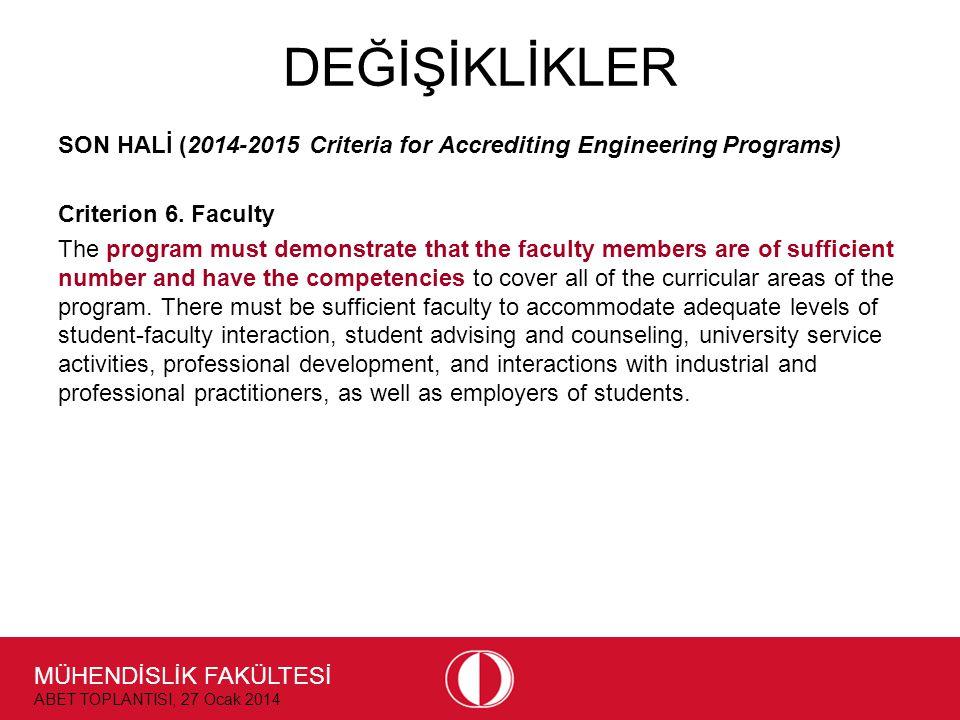 MÜHENDİSLİK FAKÜLTESİ ABET TOPLANTISI, 27 Ocak 2014 DEĞİŞİKLİKLER SON HALİ (2014-2015 Criteria for Accrediting Engineering Programs) Criterion 6. Facu