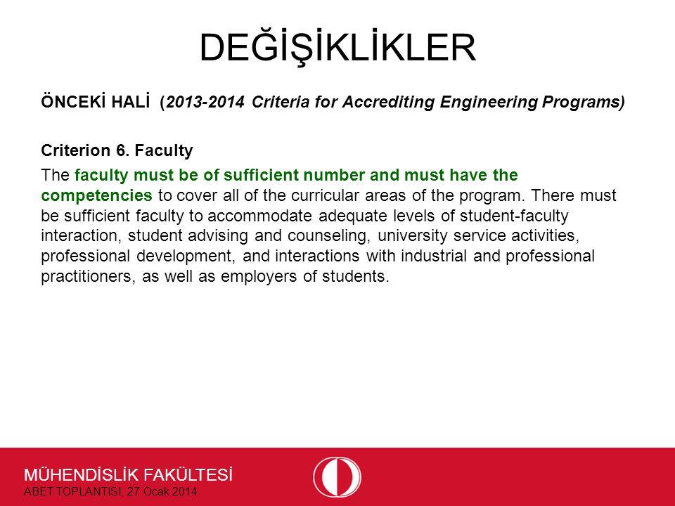 MÜHENDİSLİK FAKÜLTESİ ABET TOPLANTISI, 27 Ocak 2014 DEĞİŞİKLİKLER ÖNCEKİ HALİ (2013-2014 Criteria for Accrediting Engineering Programs) Criterion 6.